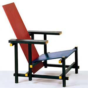 Gerrit rietveld red blue chair bauhaus chair design for Stuhl design 20 jahrhundert