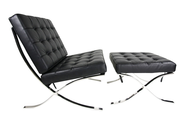 leather lounge chair with ottoman mies van der rohe. Black Bedroom Furniture Sets. Home Design Ideas
