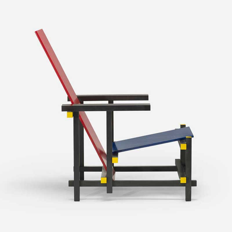 Gerrit rietveld red blue chair bauhaus chair design for Stuhl design bauhaus